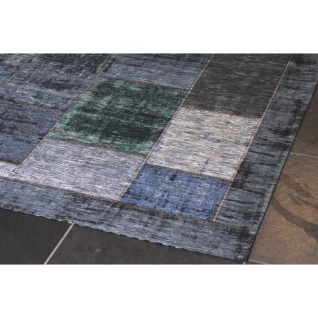 Pablo patchwork carpet green/grey/blue